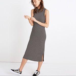 Madewell Ribbed Mockneck Striped Midi Dress S